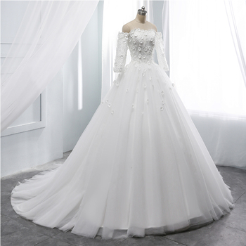 wuzhiyi 2019 A-line wedding dress full sleeves  flower vestido de noiva elegant boat  neck marriage dress Sashes wedding Grown