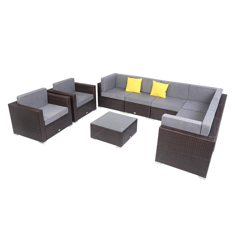 【US Warehouse】9 Pieces Patio PE Wicker Rattan Corner Sofa Set Free Shipping USA