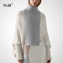 Maglione VGH Patchwork Hit Color per donna dolcevita Batwing manica lunga Casual pullover allentato donna 2020 abiti di moda