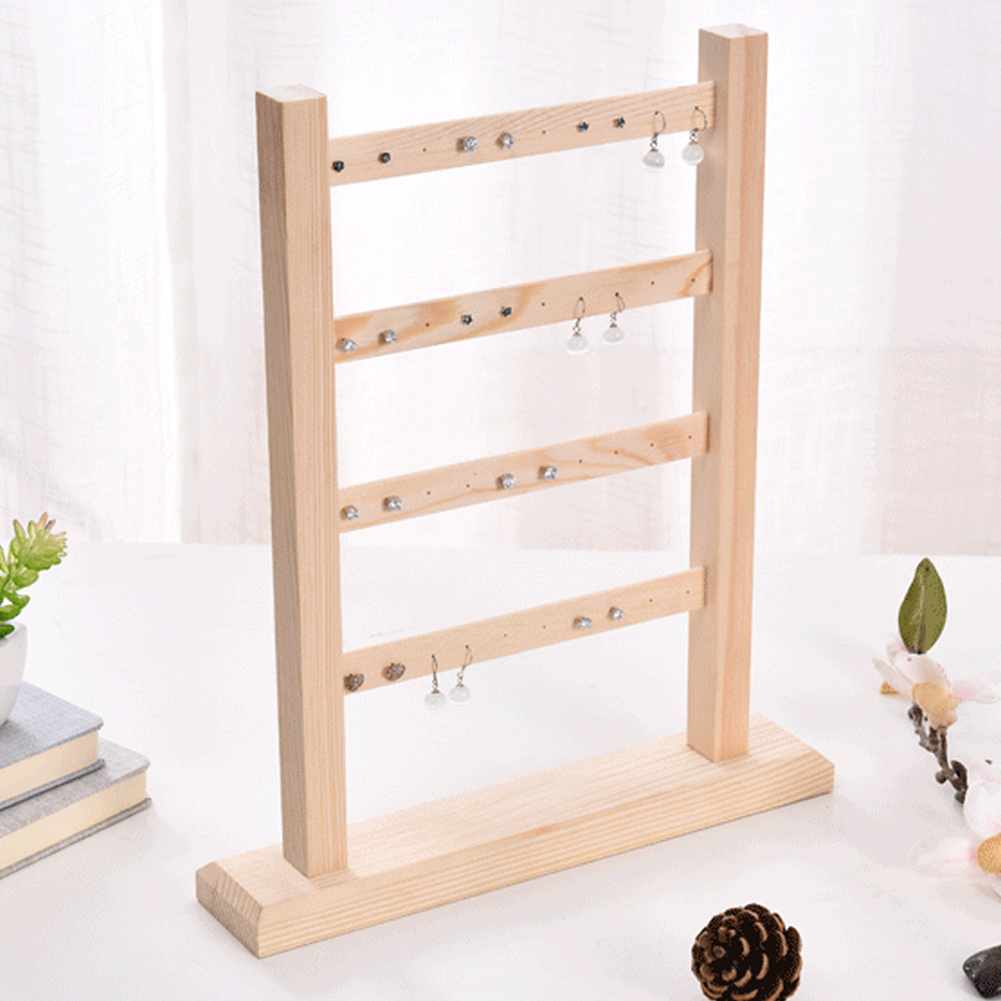 4 Layer Earrings Rack Bracelets Practical Home Jewelry Display Holder Accessories Wooden Organizer Necklaces Stand Storage Show