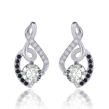Huitan Delicate Type 8 Women Stud Earring with White & Black CZ Stone Daily Wear Dance Party Wedding Engage Girl Stylish Jewelry 1
