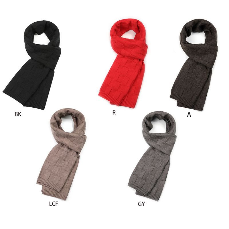 Men Classic Business Knitted Long Scarf Solid Color Plaid Jacquard Shawl Wraps