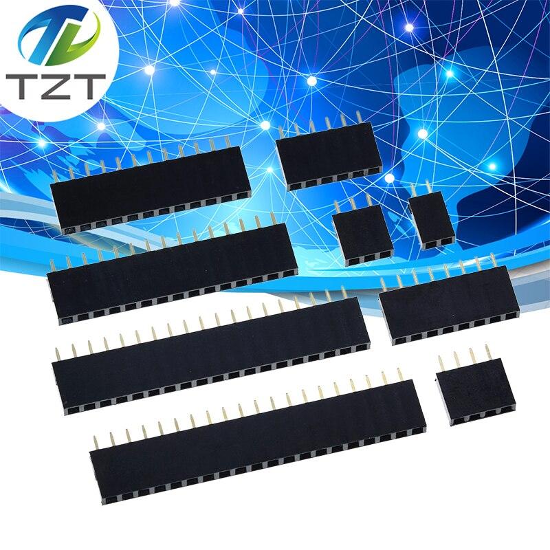2,54 мм шаг, Однорядный гнездовой разъем 2 ~ 40P, печатная плата, контактный разъем, полоса, контактный разъем 2/3/4/6/10/12/16/20/40Pin для Arduino
