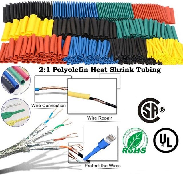 164 sztuk/zestaw rurka termokurczliwa pcv zestaw Termoretractil poliolefinowe termokurczliwa rurka różne drutu rękaw izolacji drutu osłonka na kable