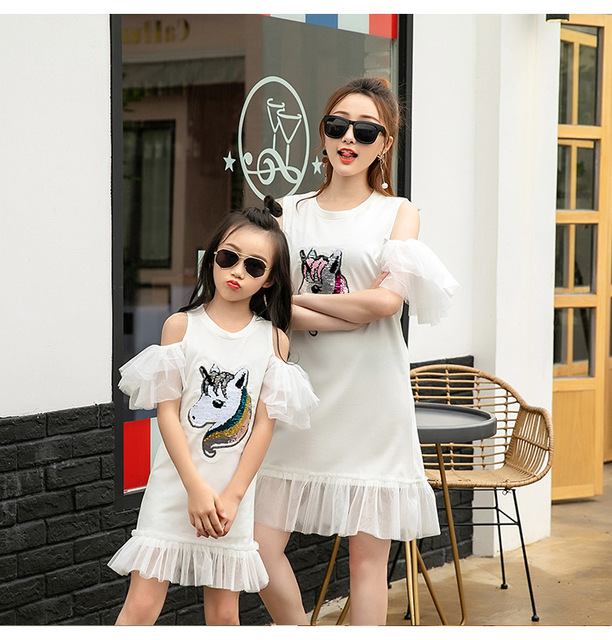 Family matching mother daughter mommy and me clothes sequins unicorn family look korean fashion clothing wear girls women dress