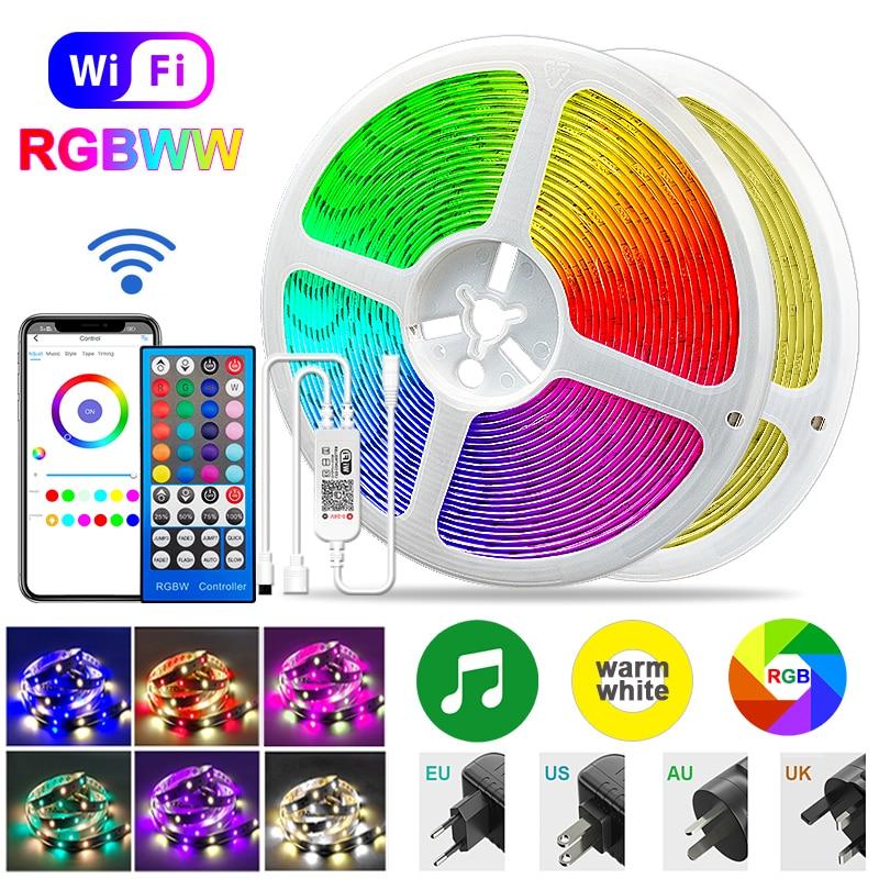 Rgbww Led Strip 5050 Rgb Warm White Led Lights Bluetooth Wifi Flexible Tape Lighting 12V Waterproof Self-Adhesive Ribbon Lamp