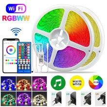 Rgbww led strip 5050 rgb branco quente luzes led bluetooth wifi fita flexível iluminação 12v impermeável auto-adesivo lâmpada de fita