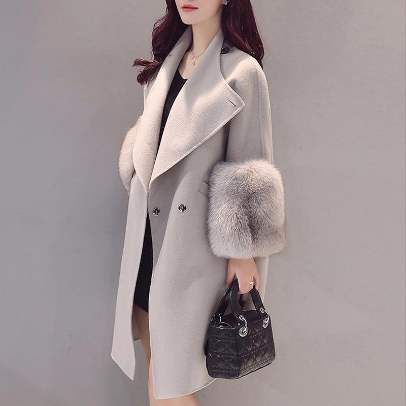 19 Autumn/Winter Woolen Coat Jackets Warm Wool Blend Faux Fur Sleeve Long Turn-down Collar Loose Coats Large Size Outerwear 2