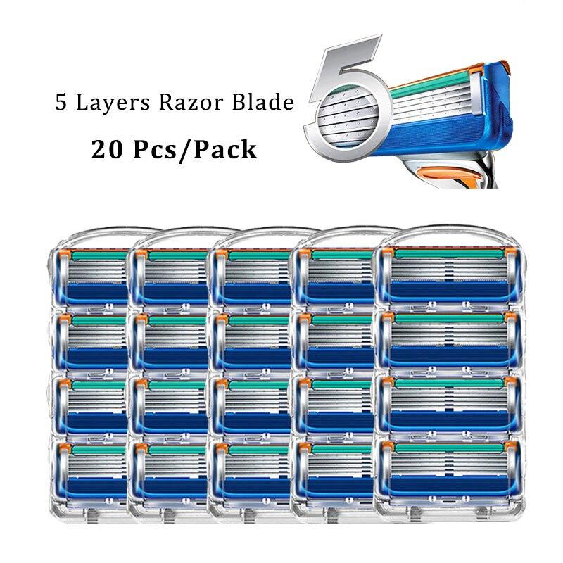 Бритвенные лезвия для Gillette Fusion, сменные Мужские t-образные головки, 5 слоев, кассеты для бритья из нержавеющей стали, прямая Бритва для мужчин