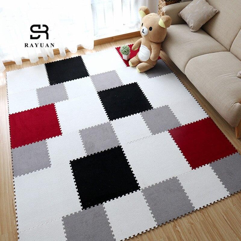 RAYUAN DIY Colorful Puzzle Mat EVA Foam Shaggy Carpet Jigsaw Mat Plush Soft Area Rug Children Baby Play Mats Home Decor