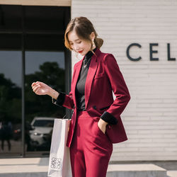2021 Spring Autumn 2 Piece Set for Women Black Solid Coat+Full Length Pants Office Lady Casual Fashion Business Formal Suit D93