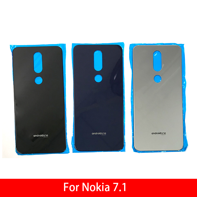New <font><b>Back</b></font> Glass Rear <font><b>Cover</b></font> For <font><b>Nokia</b></font> <font><b>7.1</b></font> Battery Door Housing Battery <font><b>back</b></font> <font><b>cover</b></font> image