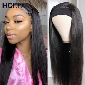 30 cal proste włosy ludzkie peruki z szal na głowę brazylijski Remy Hair150 gęstość U część peruka dla czarnych kobiet Fashion Style tanie i dobre opinie HCDIVA Remy Ludzki Włos CN (pochodzenie) Brazilian Remy Human Hair Wig Średnia wielkość Long Hair Wig 34 36 inch lace wig