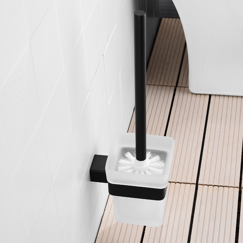 Toilet Brusher Glass Brusher With Black Holder Frosted Square Glass Cup For Home Hotel