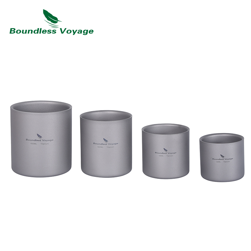 Boundless Voyage Titanium Cup Camping Mug Outdoor 4 in 1 Double Walled Foldable Tableware Lightweight Coffee Tea Water Drinkware
