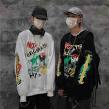 NiceMix Hip Hop Graffiti Print Fleece Hooded Hoodies Women Men Pullover Sweatshirt Streetwear women Fashion Harajuku Casual(China)