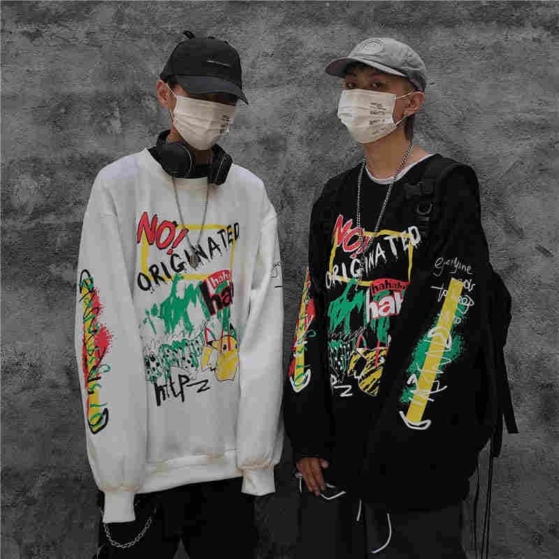 NiceMix Hip Hop Graffiti Print Fleece Hooded Hoodies Women Men Pullover Sweatshirt Streetwear women Fashion Harajuku Casual