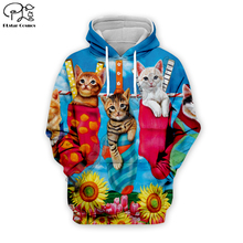 Men 3D Funny cat Print Christmas Hoodie women cartoon animal Sweatshirt Harajuku zipper coat unisex pullover beach tshirt vest cartoon cat print sweatshirt