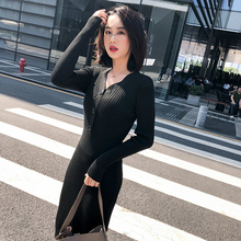 Sexy V-neck Women Knitted Skirt Suits Autumn Winter Long Sleeve Stretch Dresses Elegant Bodycon Female Sweater Fruit Green Dress