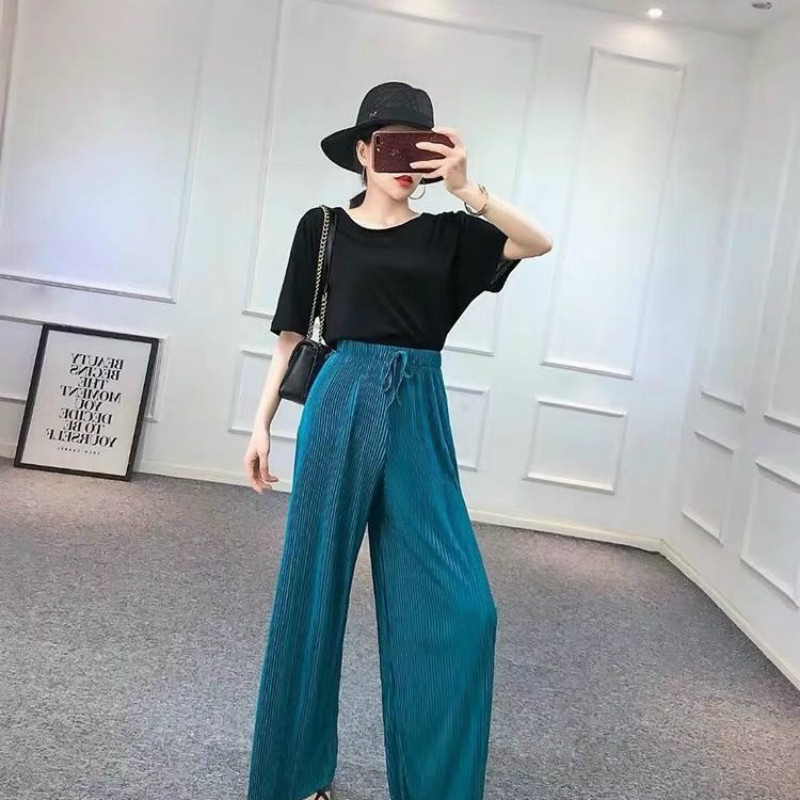 4XL Big Size   Pant   Summer   Wide     Leg     Pants   For Women Casual Elastic High Waist Fashion Loose Long   Pants   Pleated   Pant   Trousers Femme