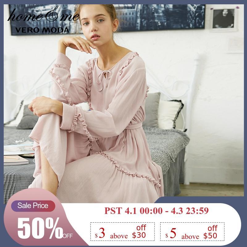 Vero Moda Women's Ruffled Spliced Lace-up Homewear Dress | 31837D524