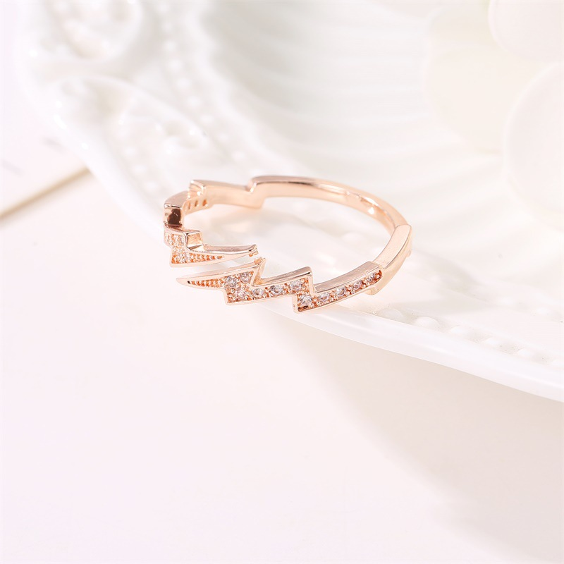 1 PC New Fashion irregular lightning Shape Rose gold Color Rings Women Rhinestone Opening Jewelry Rings in Rings from Jewelry Accessories