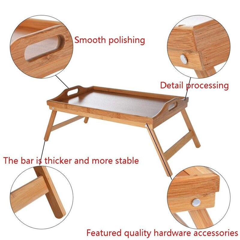 Натуральный Бамбуковый поднос для сервировки завтрака с ручкой, сервировка завтрака в кровати или использование в качестве ТВ-стола складная кровать стол для ноутбука-2