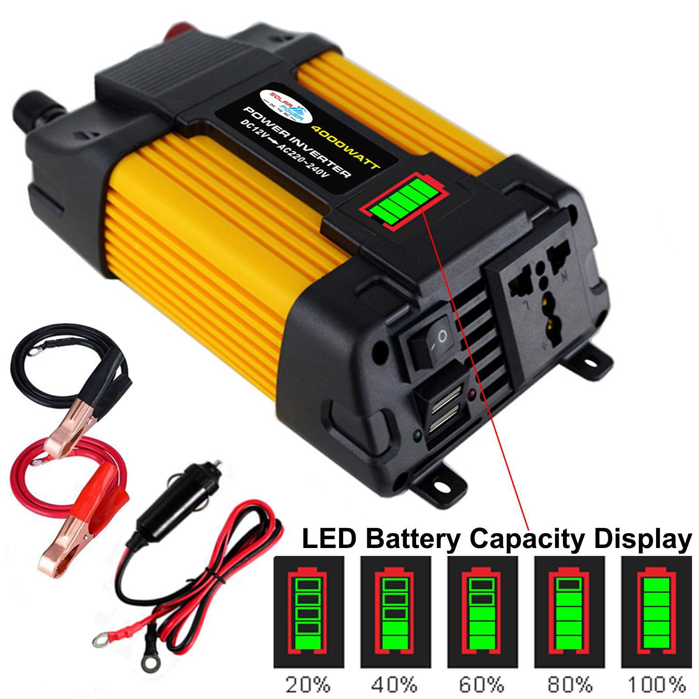 4000 واط/6000 واط DC12V إلى AC110/220 فولت سيارة التبديل العاكس LED عرض المزدوج USB محول طاقة محول محول الجهد