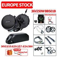 36v250w bafang bbs01b bbs01 mid drive motor kit de conversão bicicleta elétrica com bateria de lítio 36v13/15.6/20ah bateria de bicicleta