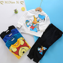 Ensemble de Sport d'automne pour bébé garçon, sweat-shirt + pantalon, motif de canard de dessin animé, tenue pour enfant