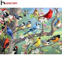 Huacan plein forage diamant peinture oiseau décoration de la maison point de croix broderie mosaïque Animal arbre diamant Art