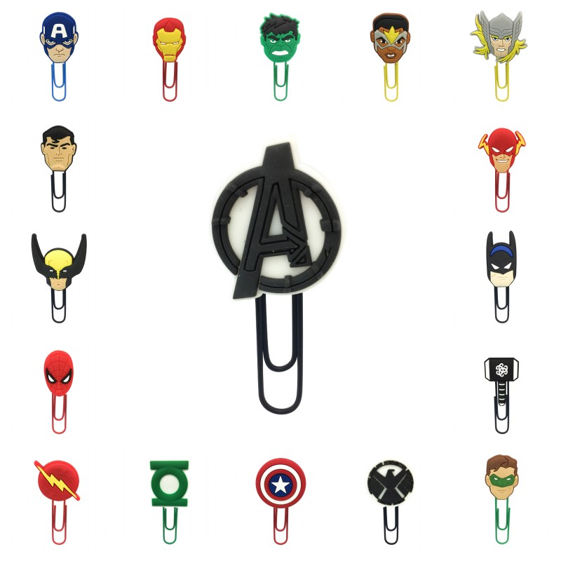 100pcs/lot Avenger Bookmarks Superhero Paper Clips For Student Teacher Action Figure Avenger Logo Page Holder Kids Gift