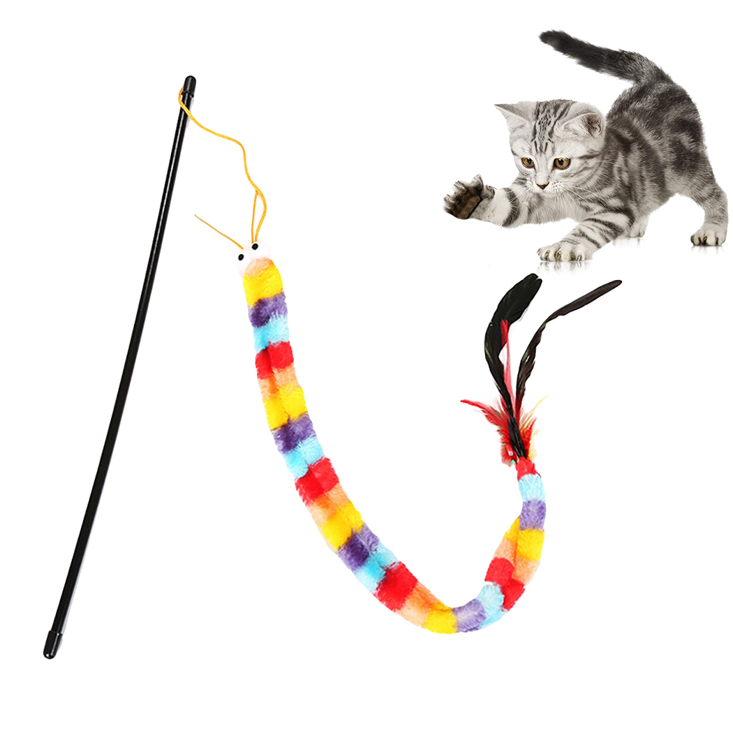 Funny <font><b>Cat</b></font> <font><b>Toy</b></font> Fishing Rod Kitten <font><b>Cat</b></font> Pet <font><b>Toy</b></font> <font><b>Stick</b></font> Teaser Rainbow Streamer Interactive <font><b>Cat</b></font> Play Wand With <font><b>Feather</b></font> <font><b>Toys</b></font> For <font><b>Cats</b></font> image