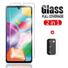 Vidro protetor 2 em 1 para samsung galaxy a41, vidro para tela e para as lentes das câmeras cobertura protetora de vidro temperado 41