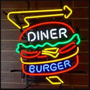 Tự Làm Thực Khách Burger Kính Đèn Neon Ký Khui Bia