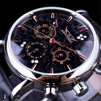 2019 new luxury fashion hot waterproof mechanical watches leather strap men's fashion casual automatic mechanical wrist watches