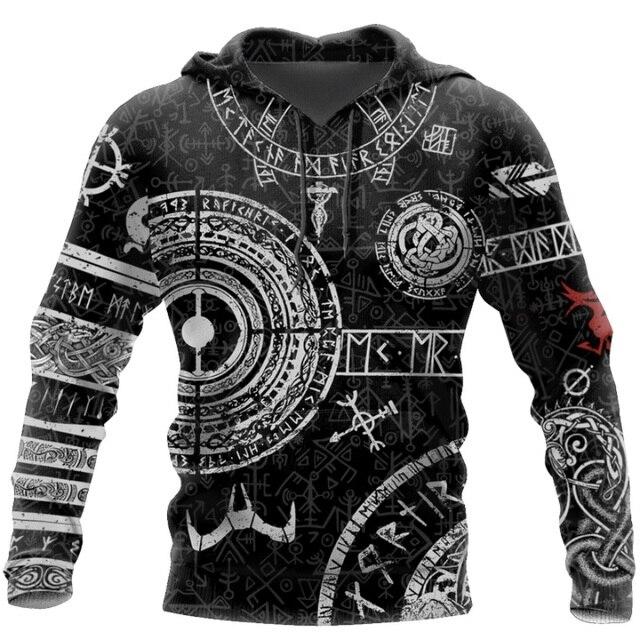 Viking Odin Tattoo 3D Printed Men hoodies Harajuku Fashion Hooded Sweatshirt Autumn Unisex Street hoodie sudadera hombre WS-445 2