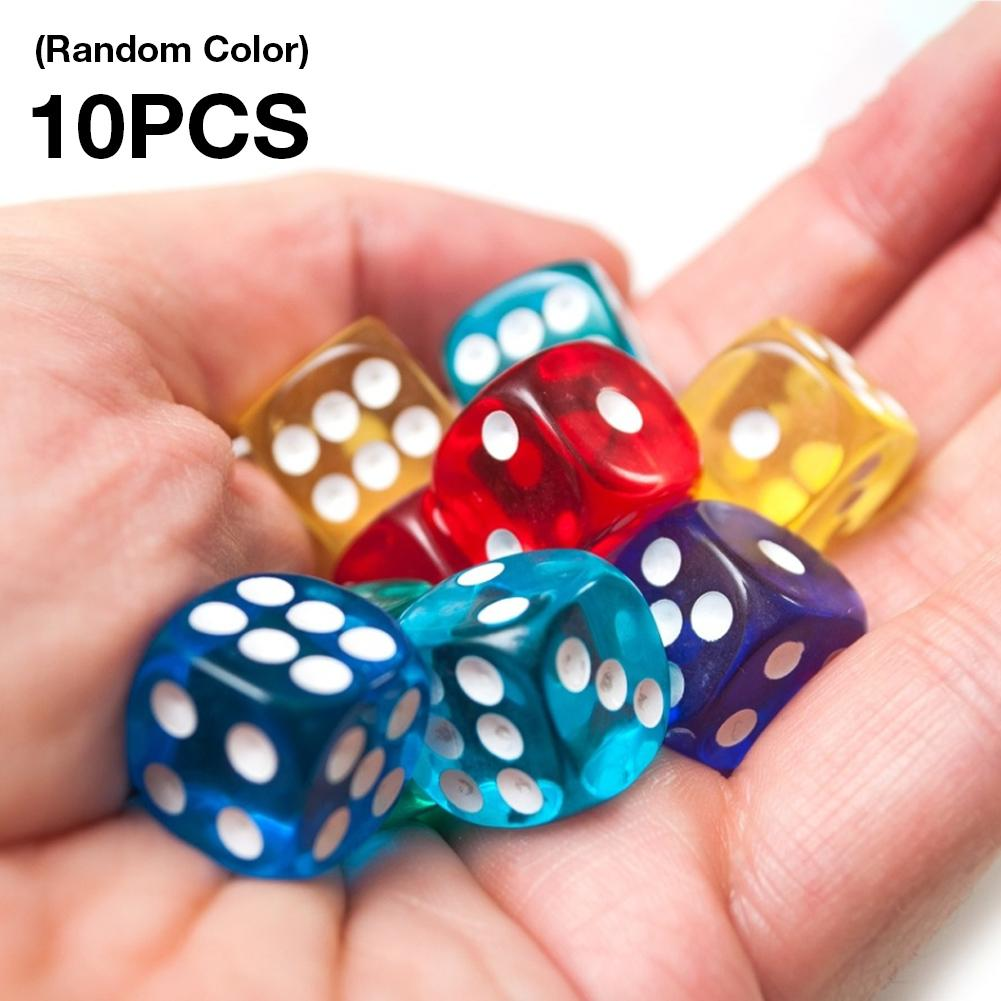 10PCS / Set Dice Group Transparent Dice Group, Used For Board Games 16mm Dice And Other Games Equipment Is Easy To Carry