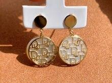 18K import Solide Gelb Gold Schmuck (AU750) Frauen Mode Runde temperament Weiß perlmutterfalter Ohrringe Ohr linie
