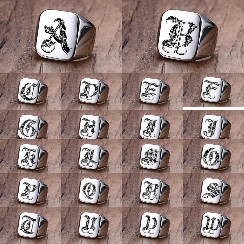 Vnox רטרו ראשי תיבות חותם טבעת לגברים 18mm מגושם כבד חותמת זכר להקת נירוסטה אותיות אישית תכשיטי מתנה בשבילו