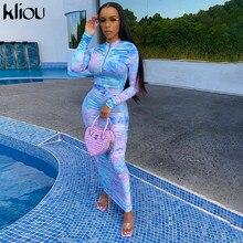 Kliou women tie dye print long sleeve bodycon dress ruched fitness skinny zipper colorful fashion vestido de mujer streetwear