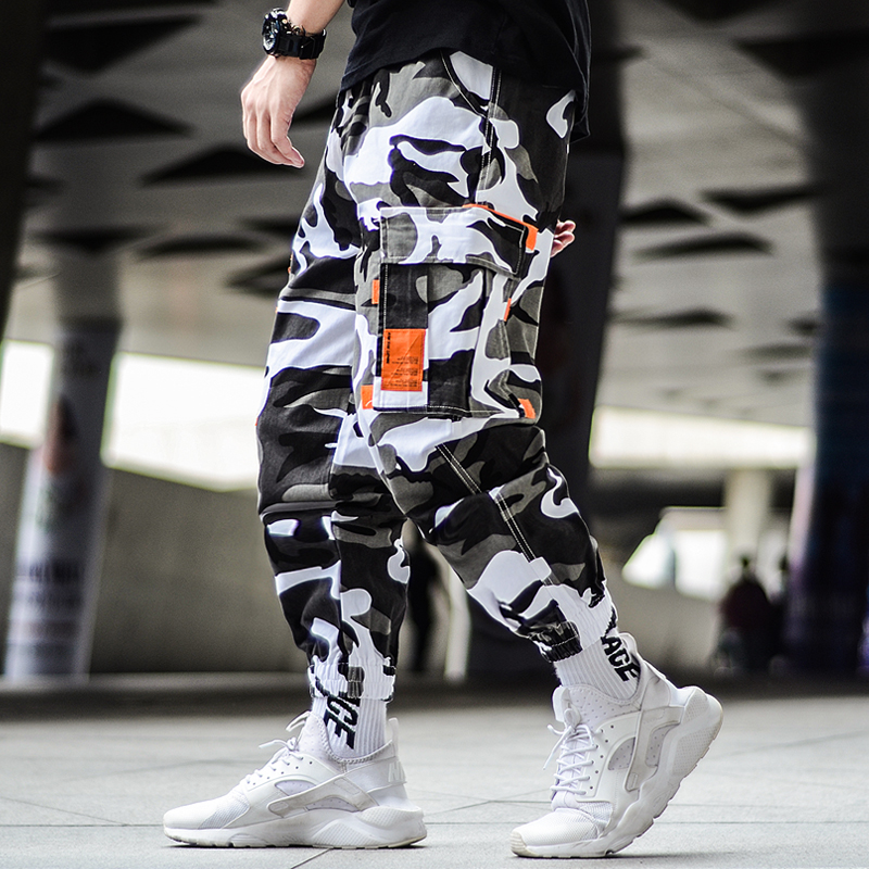Cargo Camouflage Pants Men Hip Hop Black Pants Camo Mens Harem Pant Streetwear Harajuku Jogger Sweatpant Cotton Trouser