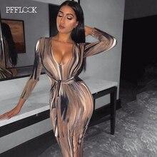 PFFLOOK 2019 Outono Sexy Bodycon Mulheres Vestido de Festa V Neck Low Cut Manga Comprida Bandage Vestidos Feminino Elegante Clube Longo vestidos