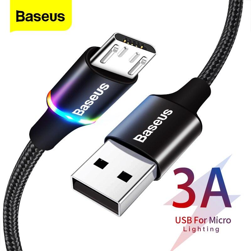Baseus kabel Micro USB podświetlany LED-owo, kabel szybkiego ładowania 3A, do telefonów z Androidem, Samsunga, Xiaomi, 3m