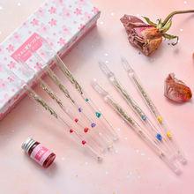 Эстетическая стеклянная ручка прозрачная авторучка сушеная Цветочная