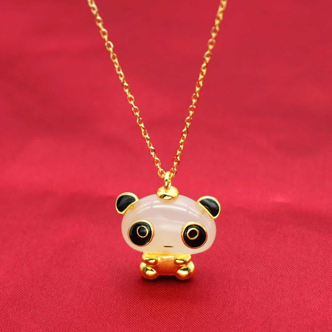Купить с кэшбэком Chinese Style Pendant Necklace Clavicle Chain Panda Lovely Chalcedony Original 925 Sterling Silver Collar Fine Jewelry Bear