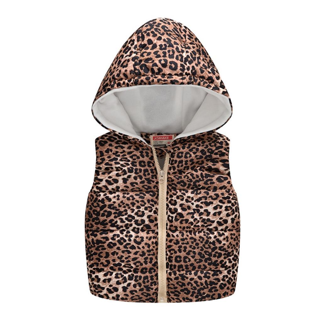 Жилет для маленьких девочек коллекция года, зимние худи-жилетка для девочек, жилет детская теплая верхняя одежда с леопардовым принтом на молнии жилет для мальчиков, одежда, l30830
