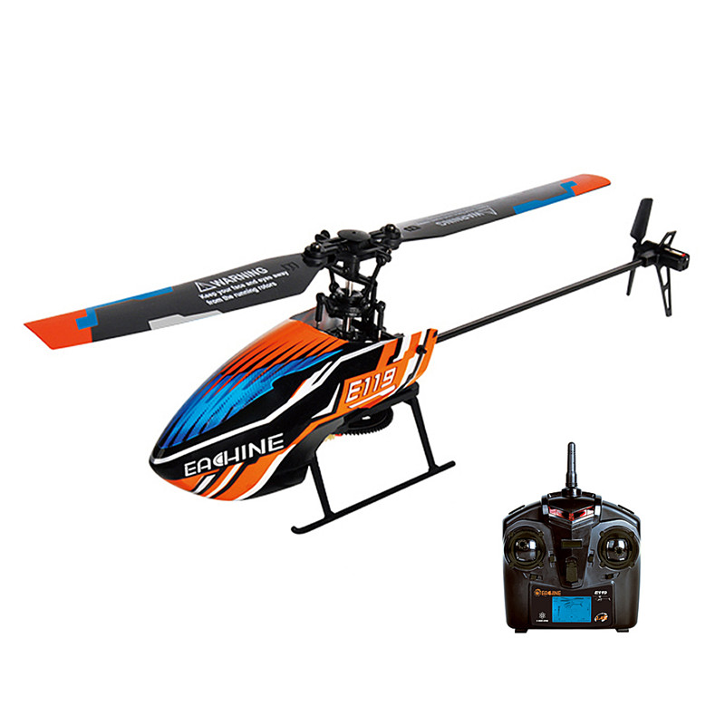 E119 2.4G 4CH 6-Axis Flybarless 8520 Coreless Main Motor RC Helicopter RTF Optional Mode Right & Left Hand Throttle