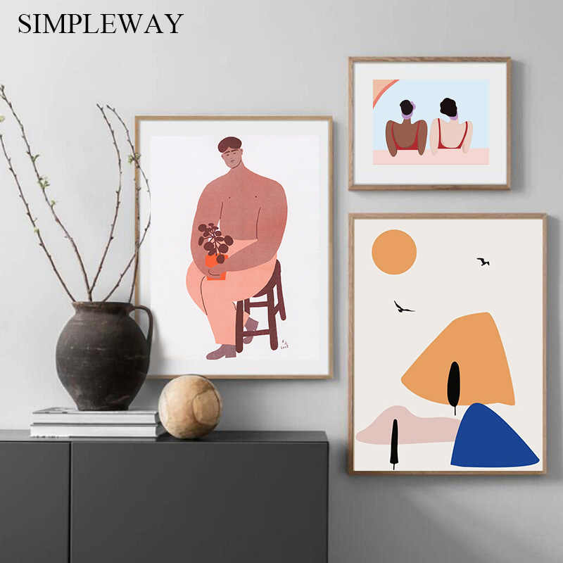 Abstract Line Art Wall Poster Hand Drawn Style Illustration Geometric Canvas Print Painting Modern Decorative Picture Home Decor