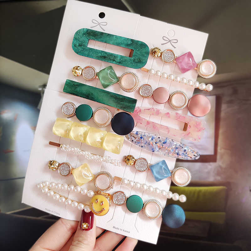 New Fashion 3/4pcs Set Pearl Hair Clip For Women Korean Hairpins Geometric Crystal Hair Barrettes Girl Hairgrip Hair Accessories